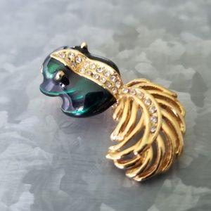 Vintage Enamel & Rhinestone Skunk Pin Brooch